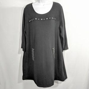 Style & Company Sweatshirt Stud Embellished Dress